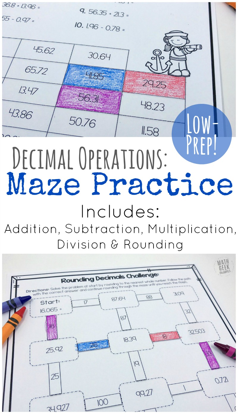 hight resolution of Low Prep Decimal Operations Mazes for Grades 4-6