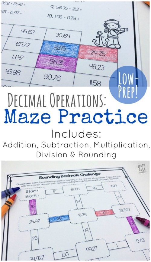 small resolution of Low Prep Decimal Operations Mazes for Grades 4-6