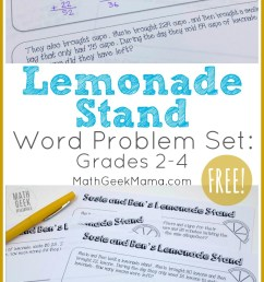 FREE} Lemonade Stand Word Problems for Grades 2-4   Math Geek Mama [ 1390 x 800 Pixel ]