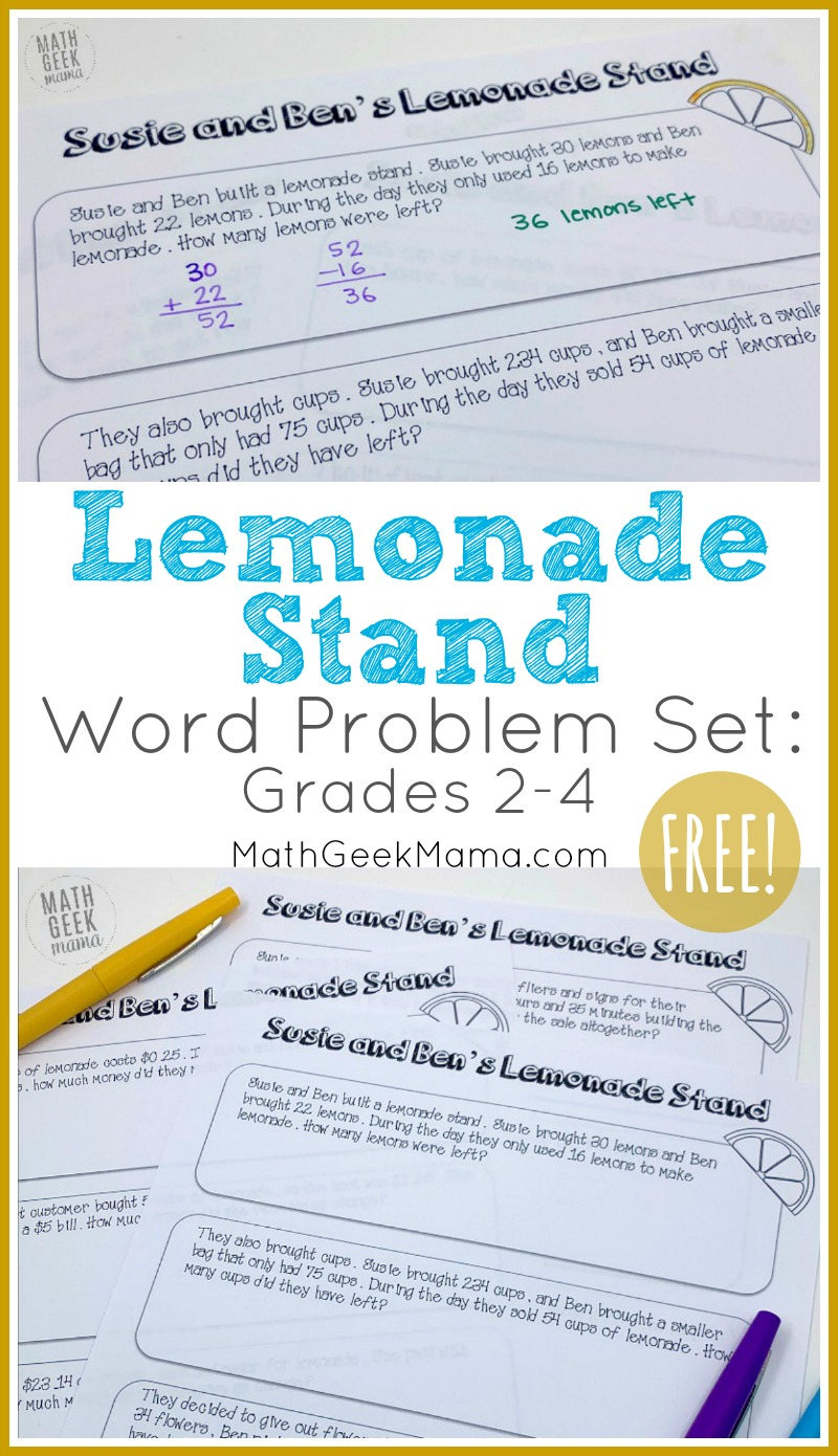 medium resolution of FREE} Lemonade Stand Word Problems for Grades 2-4   Math Geek Mama