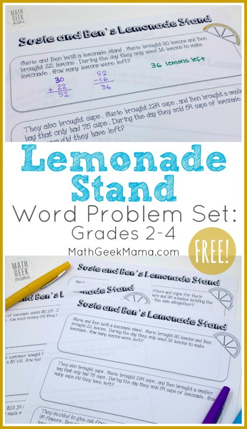 small resolution of FREE} Lemonade Stand Word Problems for Grades 2-4   Math Geek Mama