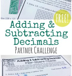 FREE} Adding \u0026 Subtracting Decimals Partner Activity! [ 1382 x 800 Pixel ]