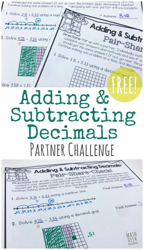 small resolution of FREE} Adding \u0026 Subtracting Decimals Partner Activity!