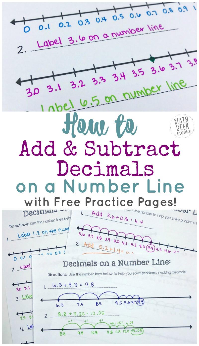 medium resolution of Add \u0026 Subtract Decimals on a Number Line {FREE Printable Number Lines!}