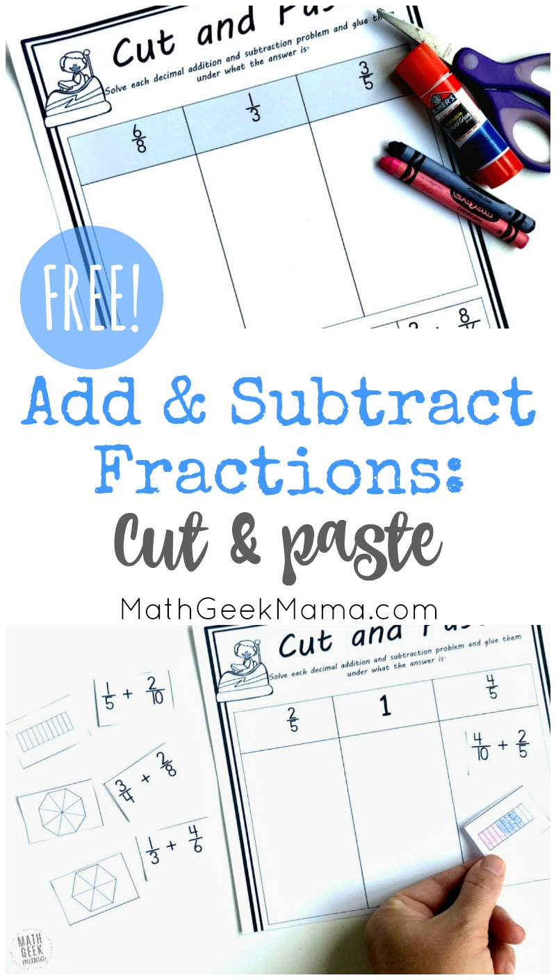 medium resolution of Add \u0026 Subtract Fractions Cut \u0026 Paste Activity {FREE}