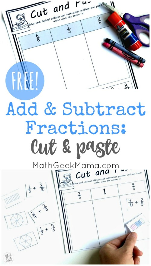 small resolution of Add \u0026 Subtract Fractions Cut \u0026 Paste Activity {FREE}