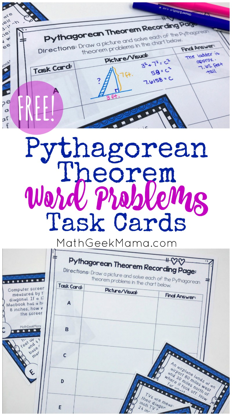 hight resolution of FREE} Pythagorean Theorem Word Problems Task Cards