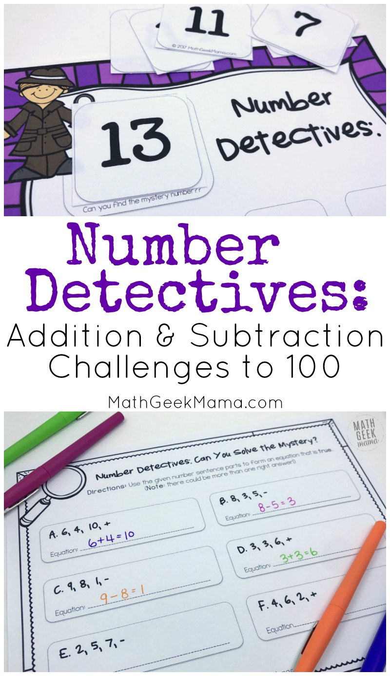 hight resolution of Number Detectives: Addition and Subtraction Challenge Problems