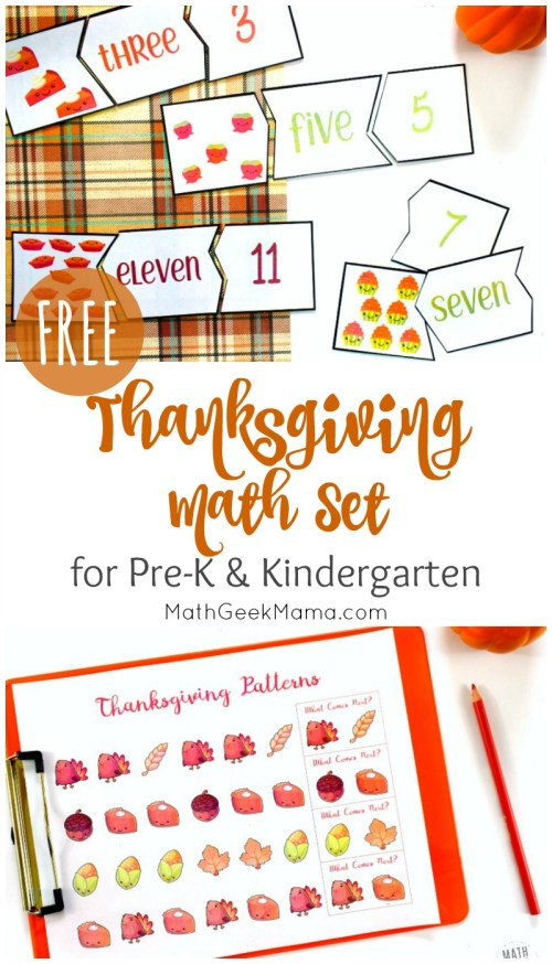 small resolution of Thanksgiving Math for Kindergarten {FREE Printables}