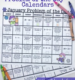 FREE} January 2019 Math Problem of the Day Calendars [ 1071 x 800 Pixel ]