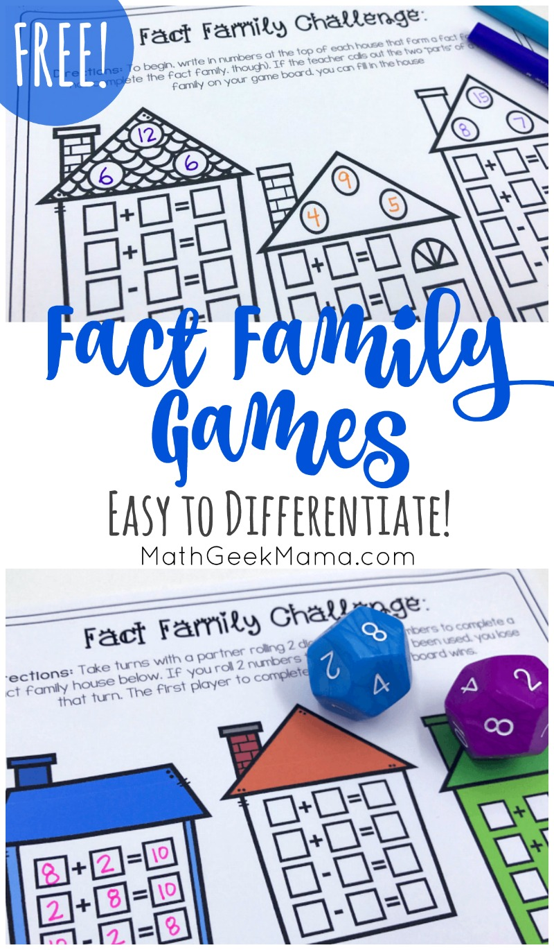 hight resolution of FREE} Simple Fact Family Games for Kids