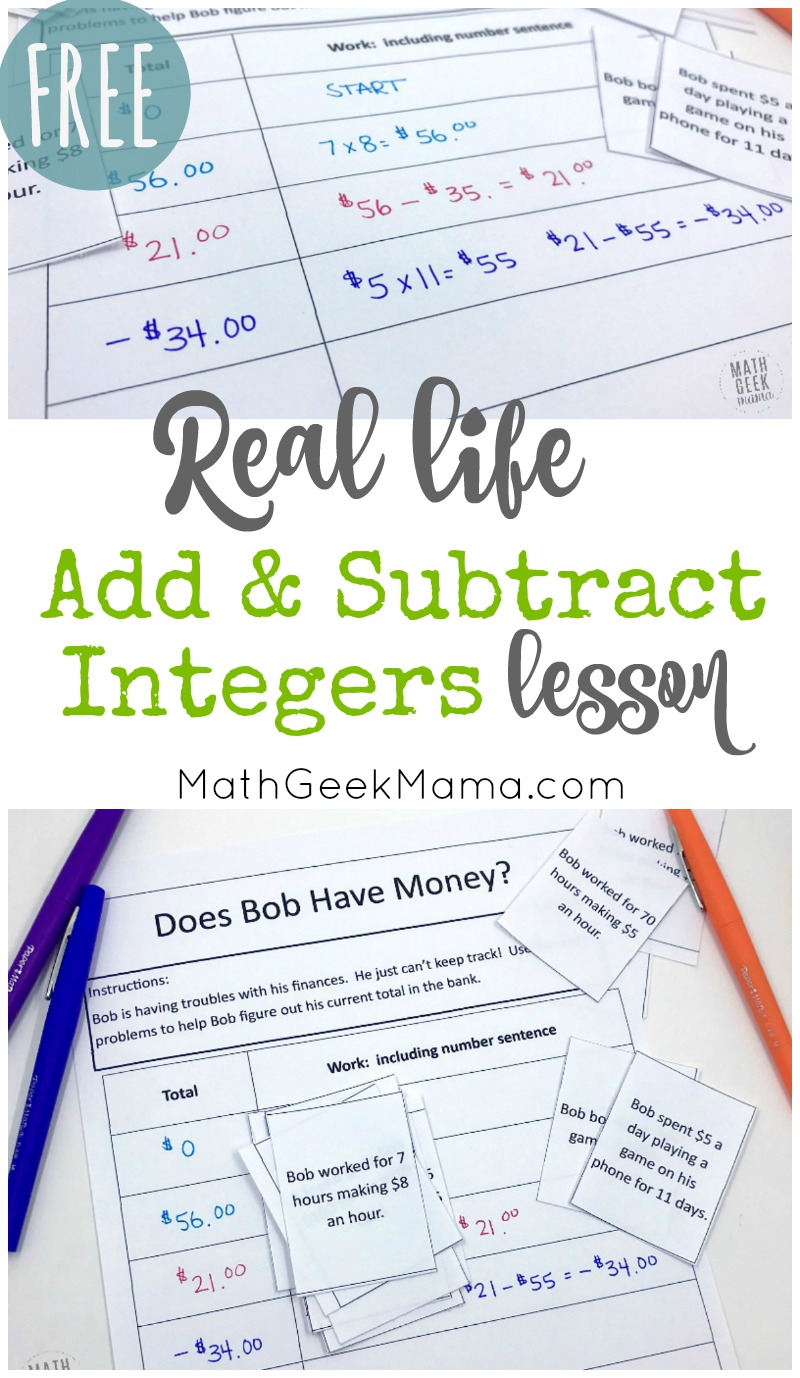 medium resolution of FREE} Add \u0026 Subtract Integers: Real Life Lesson