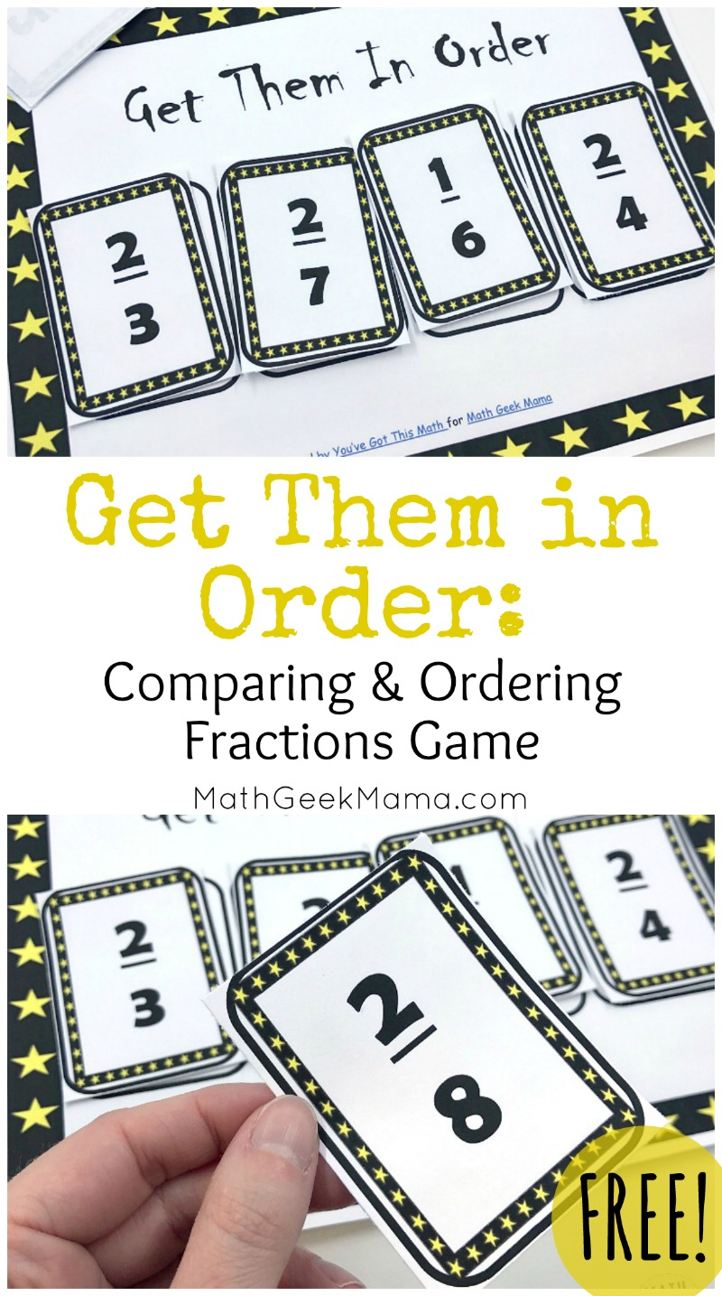 hight resolution of FREE} Get Them in Order: Comparing Fractions Game