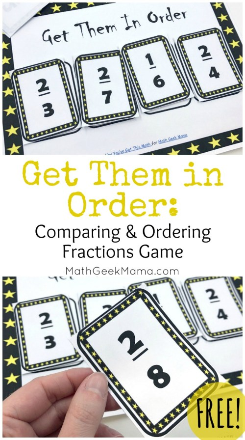 small resolution of FREE} Get Them in Order: Comparing Fractions Game