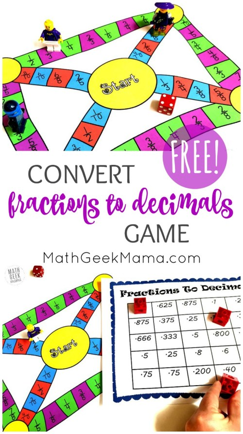 small resolution of FREE} Convert Fractions to Decimals Game: Grades 4-6