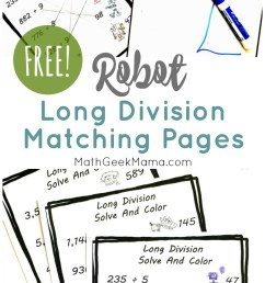 FREE} Long Division Practice for Grade 4+: Cute Robot Theme [ 1368 x 800 Pixel ]