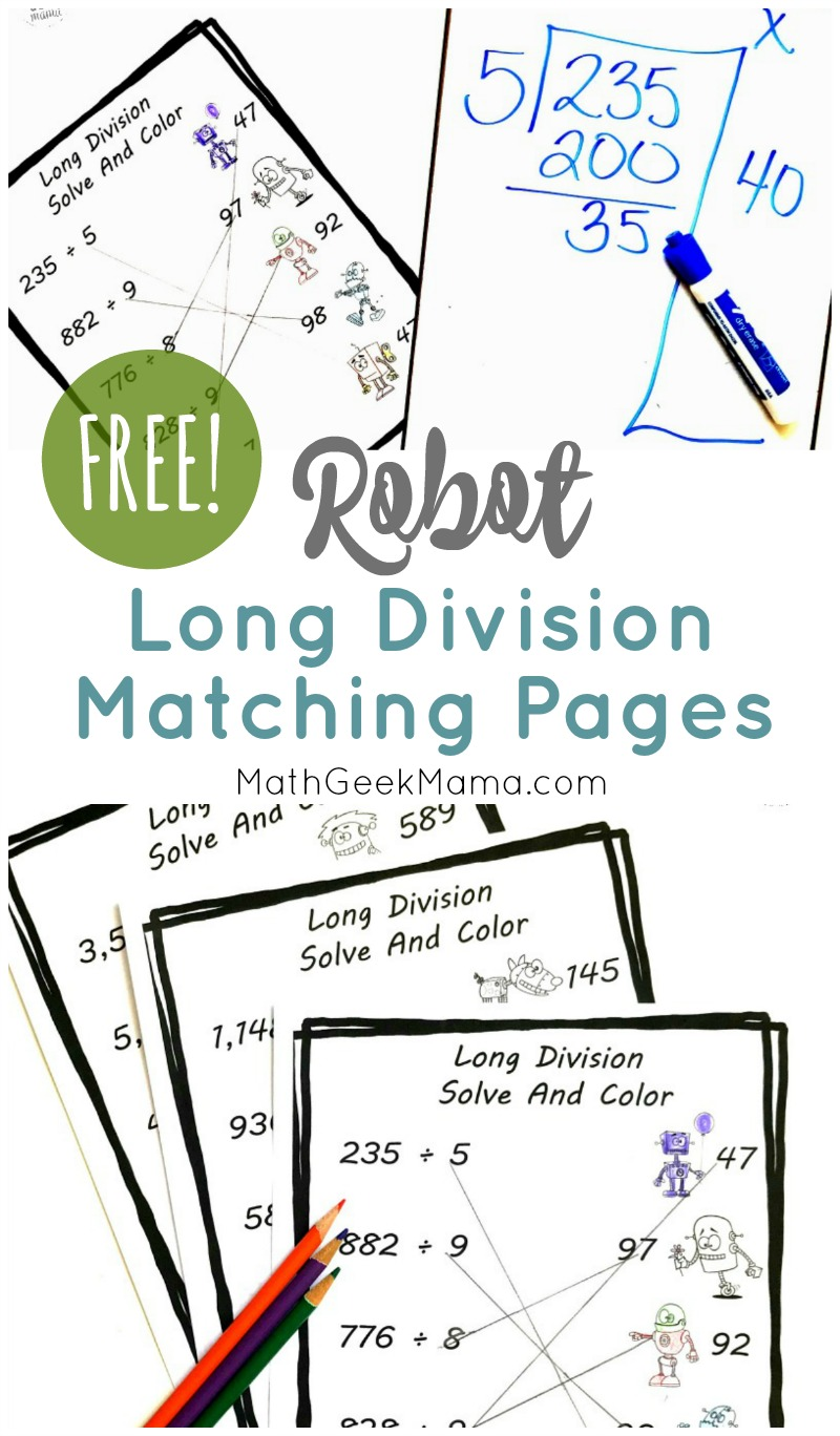 hight resolution of FREE} Long Division Practice for Grade 4+: Cute Robot Theme