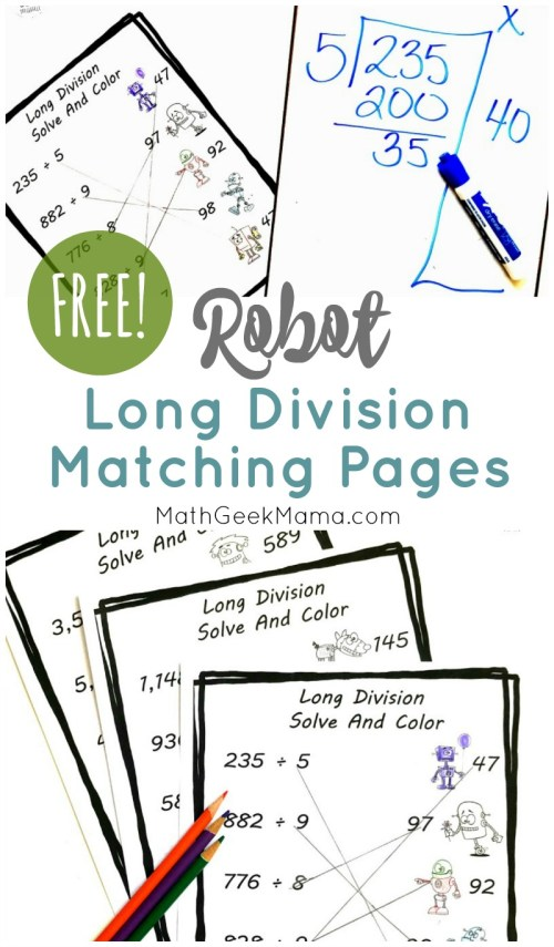 small resolution of FREE} Long Division Practice for Grade 4+: Cute Robot Theme