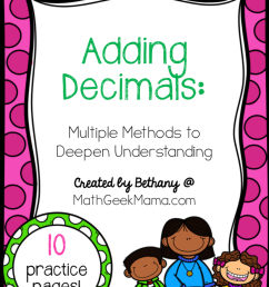 FREE} Adding Decimals Worksheets: Multiple Strategies [ 1098 x 828 Pixel ]
