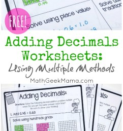 FREE} Adding Decimals Worksheets: Multiple Strategies [ 1409 x 800 Pixel ]