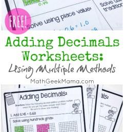 FREE} Adding Decimals Worksheets: Multiple Strategies [ 1409 x 800 Pixel ]