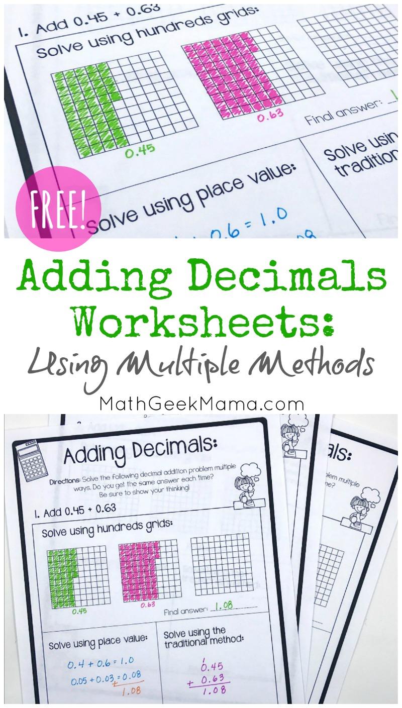hight resolution of FREE} Adding Decimals Worksheets: Multiple Strategies