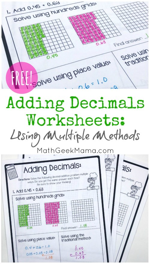small resolution of FREE} Adding Decimals Worksheets: Multiple Strategies