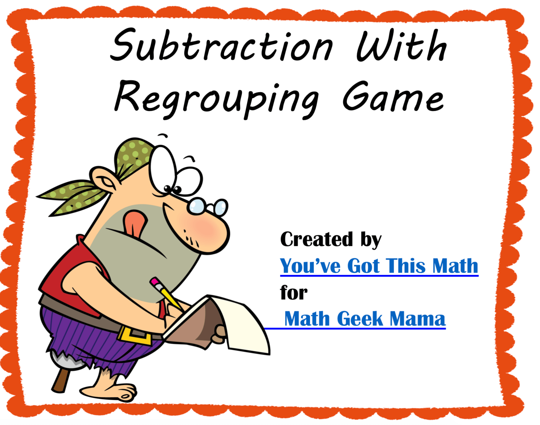 Pirate Themed Subtraction Game 3 Digit Regrouping