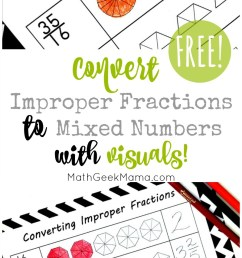 FREE} Convert Improper Fractions to Mixed Numbers Using Visuals [ 1543 x 800 Pixel ]
