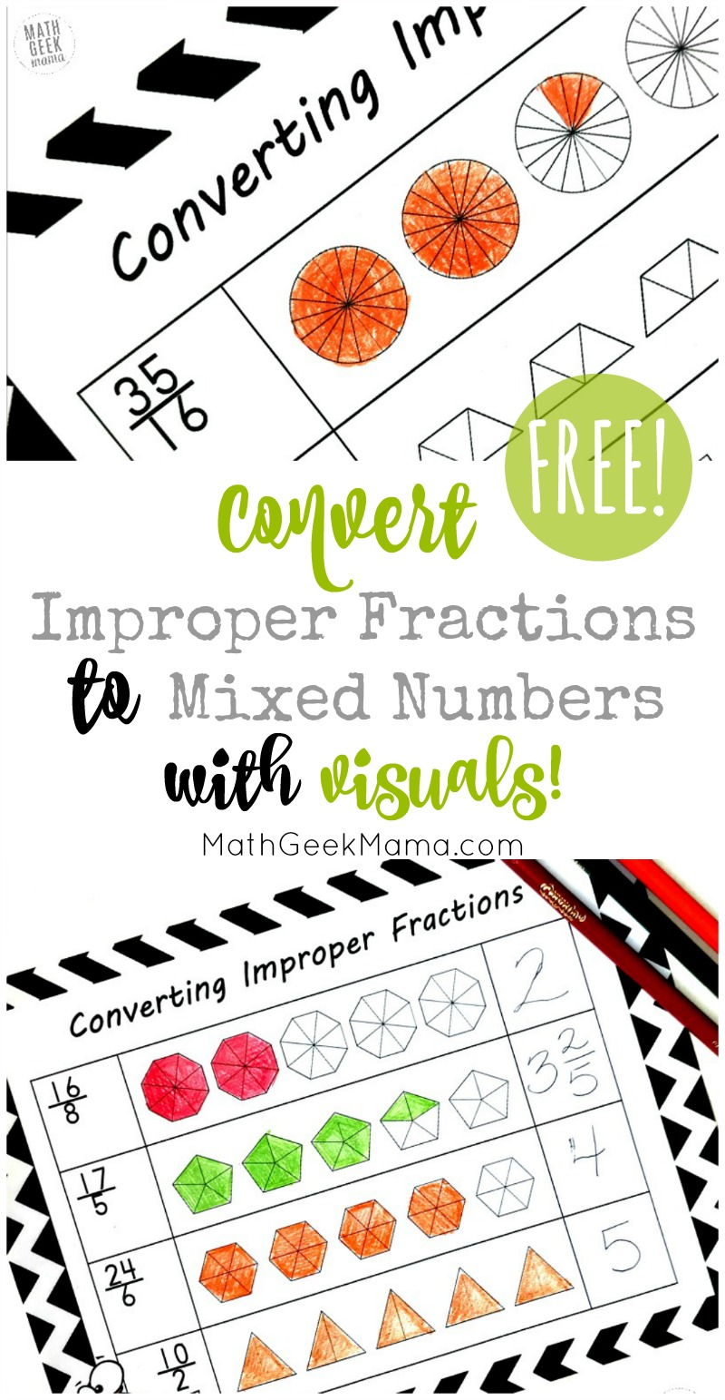 hight resolution of FREE} Convert Improper Fractions to Mixed Numbers Using Visuals