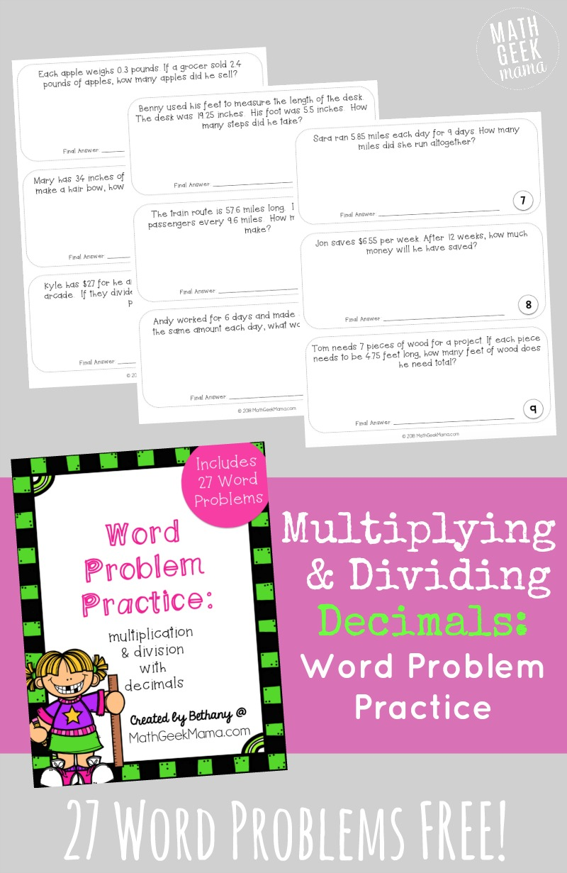 hight resolution of FREE} Multiplying Decimals Word Problems Set