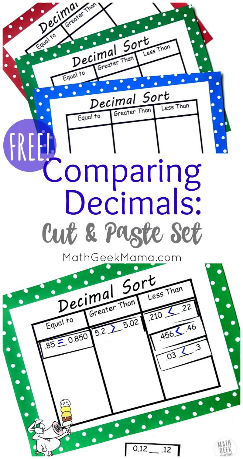 medium resolution of Compare Decimals Cut \u0026 Paste Sort {FREE!}