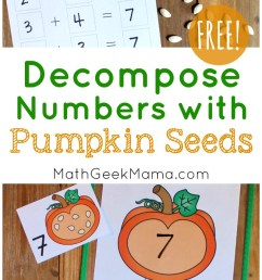 Hands On Pumpkin Seed Math with a Number Bond {FREE} [ 1463 x 800 Pixel ]