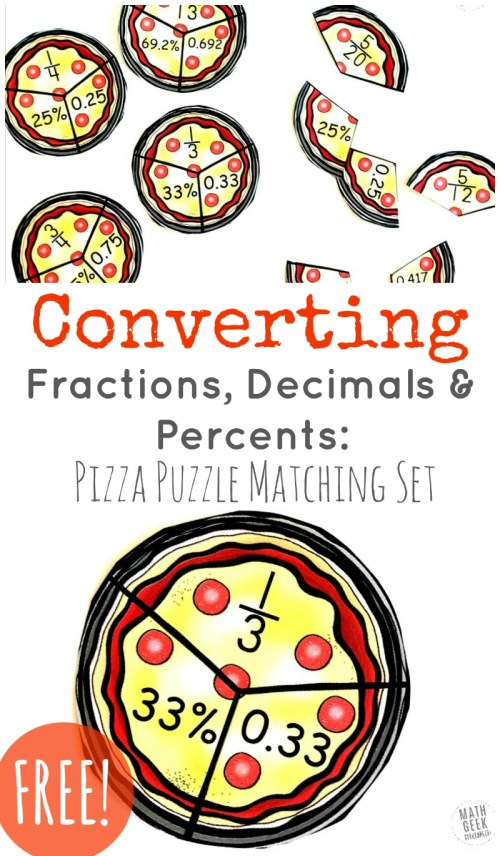 small resolution of Convert Fractions to Decimals \u0026 Percents: FREE Puzzles