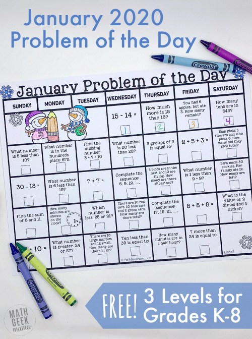 small resolution of FREE January 2020 Problem of the Day Calendars   Math Geek Mama