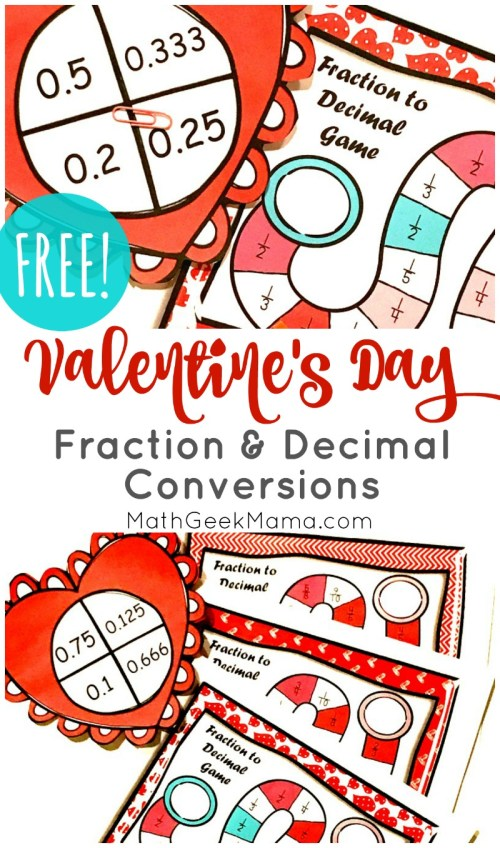 small resolution of FREE} Valentine's Day Fraction and Decimal Conversions Game   Math Geek Mama