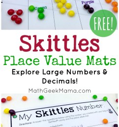 FREE} Skittles Math: Place Value Mats   Math Geek Mama [ 1446 x 800 Pixel ]