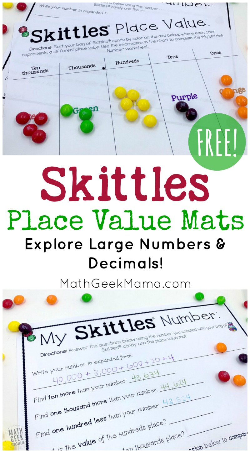 medium resolution of FREE} Skittles Math: Place Value Mats   Math Geek Mama