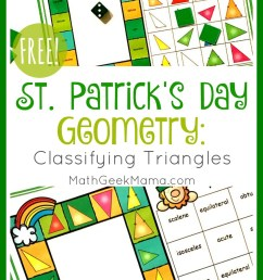 FREE} St. Patrick's Day Triangle Game   Grades 4-6   Math Geek Mama [ 1458 x 850 Pixel ]