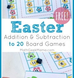 Easter Math Games: Addition \u0026 Subtraction Within 20   Math Geek Mama [ 1460 x 800 Pixel ]
