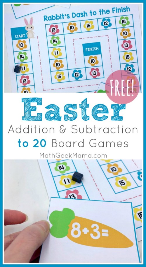 small resolution of Easter Math Games: Addition \u0026 Subtraction Within 20   Math Geek Mama