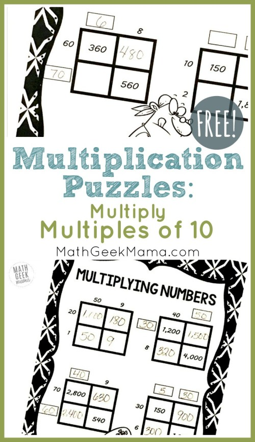 small resolution of FREE} Multiply by Multiples of 10 Grid Challenges   Math Geek Mama