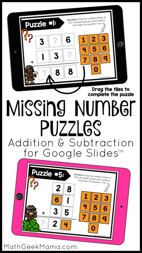 small resolution of FREE} Addition and Subtraction Puzzles for Google Slides   Math Geek Mama