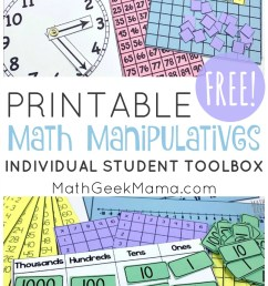 Printable Math Manipulatives   FREE Download [ 1507 x 800 Pixel ]
