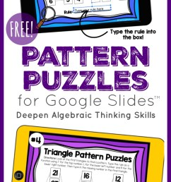 Pattern Puzzles to Build Algebraic Thinking   DIGITAL Puzzles for 3rd-5th [ 1517 x 800 Pixel ]