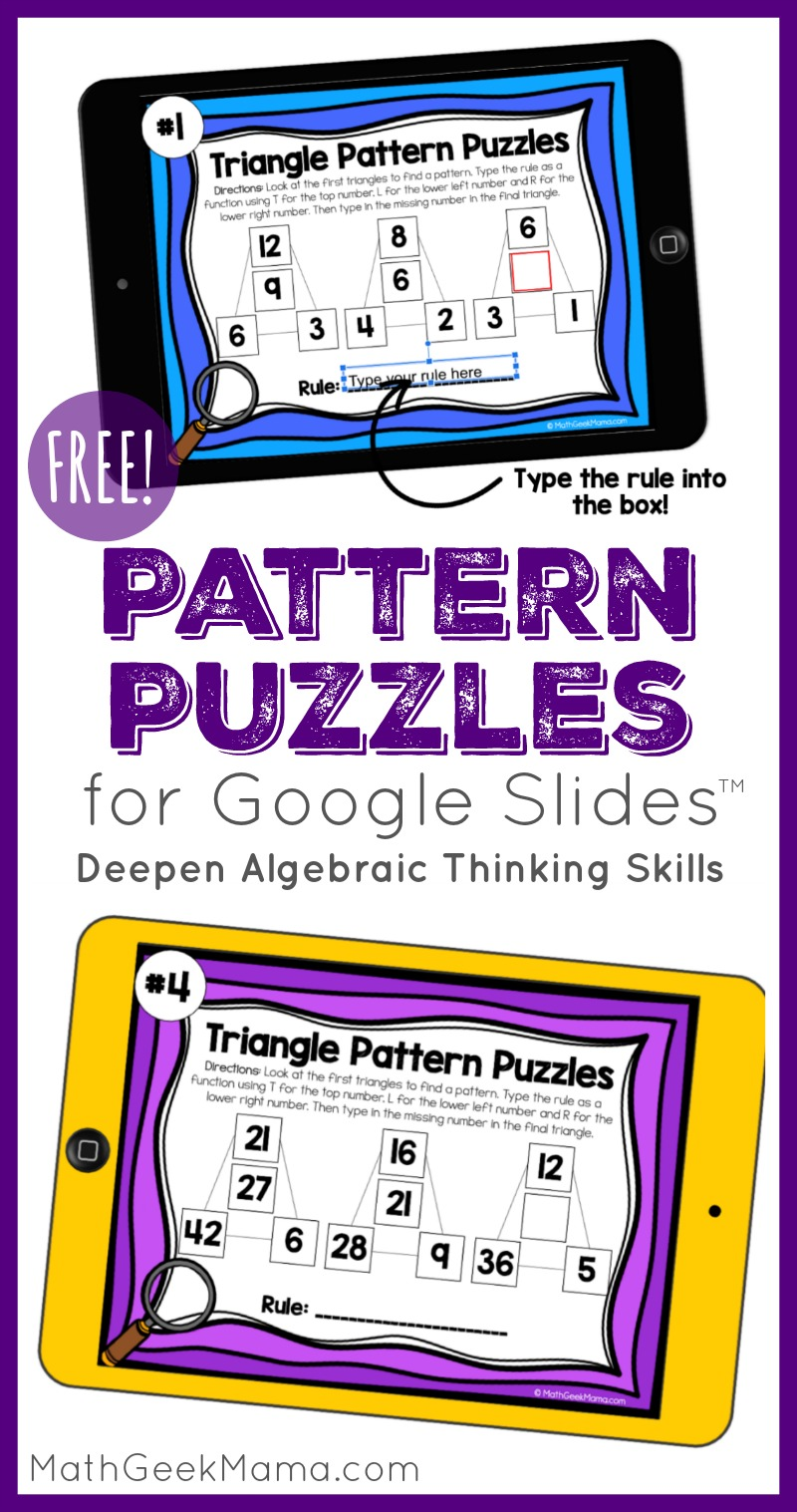 hight resolution of Pattern Puzzles to Build Algebraic Thinking   DIGITAL Puzzles for 3rd-5th
