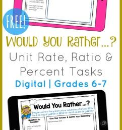 FREE} Would You Rather...? Ratio \u0026 Percent Tasks   DIGITAL [ 1415 x 800 Pixel ]