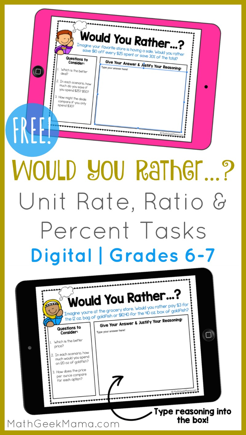 hight resolution of FREE} Would You Rather...? Ratio \u0026 Percent Tasks   DIGITAL