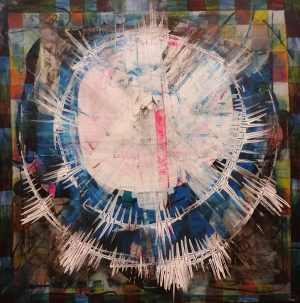 Psychic Blindness painting mathias sager_100 x 100, Acrylic on canvas