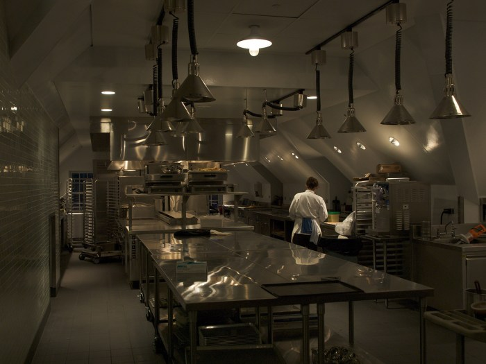 a gleaming kitchen at Stone Barns outside of New York, USA
